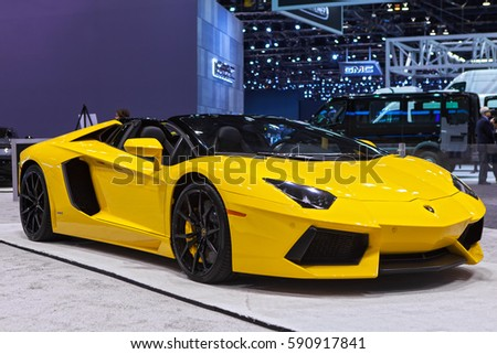 CHICAGO   February 9: A Lamborghini Aventador On Display At The Chicago Auto  Show Media