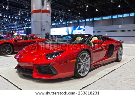 Chicago - February 13: A Lamborghini Aventador on display February 13th, 2015 at the 2015 Chicago Auto Show in Chicago, Illinois. - stock photo