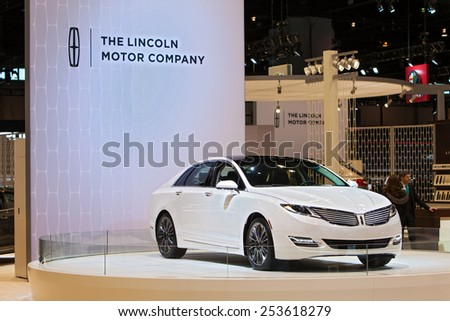 Chicago - February 13: A Lincoln MKX on display February 13th, 2015 at the 2015 Chicago Auto Show in Chicago, Illinois. - stock photo