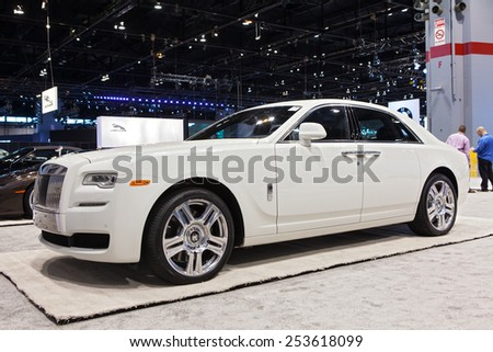 Chicago - February 13: A Rolls-Royce Ghost Series II on display February 13th, 2015 at the 2015 Chicago Auto Show in Chicago, Illinois. - stock photo