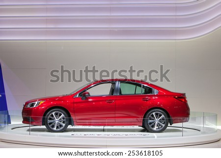 Chicago - February 13: A Subaru Legacy sedan on display February 13th, 2015 at the 2015 Chicago Auto Show in Chicago, Illinois. - stock photo