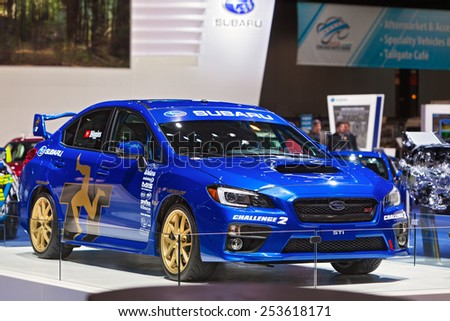 Chicago - February 13: A Subaru STI on display February 13th, 2015 at the 2015 Chicago Auto Show in Chicago, Illinois. - stock photo