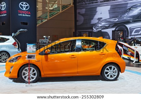 Chicago - February 13: A Toyota Prius C on display February 13th, 2015 at the 2015 Chicago Auto Show in Chicago, Illinois. - stock photo