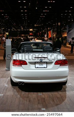 CHICAGO - FEBRUARY 18 :BMW 3 SERIES CONVERTIBLE uses BMW's normally aspirated 3-liter inline six, with 230 horsepower at 6500 rpm. Displayed at the Autoshow 2009 on Febraury 18, 2009  in Chicago,IL - stock photo