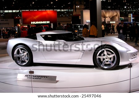 CHICAGO - FEBRUARY 18 :Chevrolet introduced for the first time a new automotive super-star: the Chevrolet Sting Ray concept at the Chicago Auto Show 2009 on Febraury 18, 2009 - stock photo