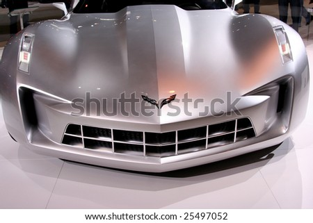 CHICAGO - FEBRUARY 18 :Chevrolet introduced for the first time a new automotive super-star: the Chevrolet Sting Ray concept at the Chicago Auto Show on Febraury 18, 2009 . - stock photo