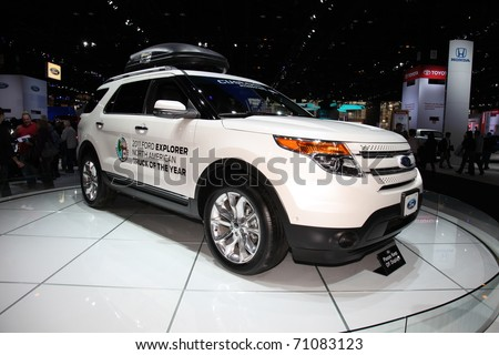 CHICAGO - FEBRUARY 12: Ford Explorer presentation at the Annual Chicago Auto Show February 12 2011 in Chicago, IL. - stock photo