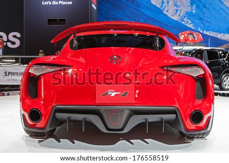 CHICAGO   FEBRUARY 6 : Rear View Of The Toyota FT 1 Concept Vehicle At