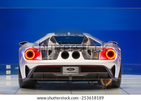 Chicago - February 13: The back side of the new Ford GT February 13th, 2015 at the 2015 Chicago Auto Show in Chicago, Illinois. - stock photo