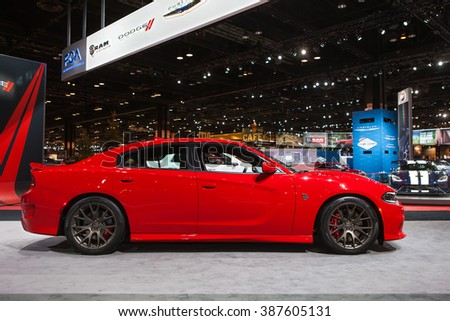 CHICAGO - February 12: The 2017 Dodge Charger Hellcat edition on display at the Chicago Auto Show media preview February 12, 2016 in Chicago, Illinois. - stock photo
