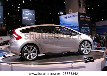 CHICAGO-FEBRUARY 18 :The HYUNDAI i-mode, a concept vehicle, has style with future technologies and  and futuristic communications displayed at the Auto Show 2009 in Chicago, IL.February 18, 2009 - stock photo