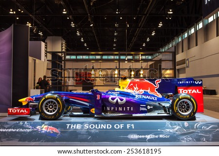 Chicago - February 13: The Infiniti Red Bull F1 Race Car on display February 13th, 2015 at the 2015 Chicago Auto Show in Chicago, Illinois. - stock photo