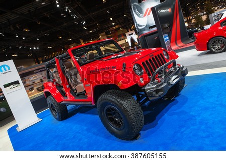 CHICAGO - February 12: The Jeep Wrangler Red Rock Concept on display at the Chicago Auto Show media preview February 12, 2016 in Chicago, Illinois.