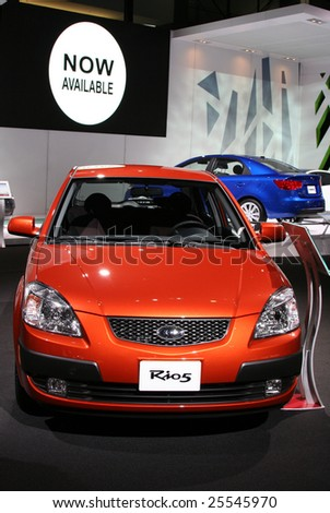 CHICAGO, FEBRUARY 18, 2009: The 2009 KIA Rio5 has proven popular with younger buyers and those seeking economy (up to 34 mpg). Displayed at the Auto Show 2009 in Chicago. - stock photo