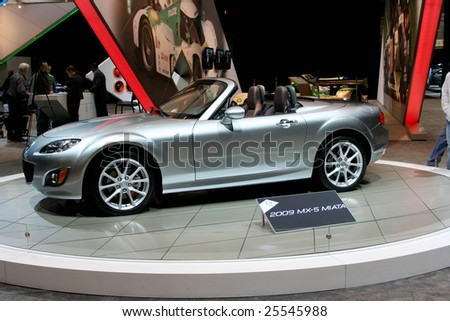 CHICAGO, FEBRUARY 18, 2009: The Mazda MX-5 is the world's most popular two-seat convertible sports car. Displayed at the Auto Show 2009 in Chicago. - stock photo