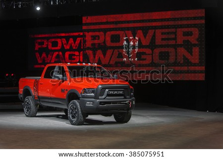 CHICAGO - February 11: The new Dodge Ram Power Wagon on display at the Chicago Auto Show media preview February 11, 2016 in Chicago, Illinois. - stock photo