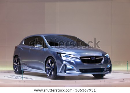CHICAGO - February 11: The new Subaru Impreza 5-Door Concept on display at the Chicago Auto Show media preview February 11, 2016 in Chicago, Illinois. - stock photo
