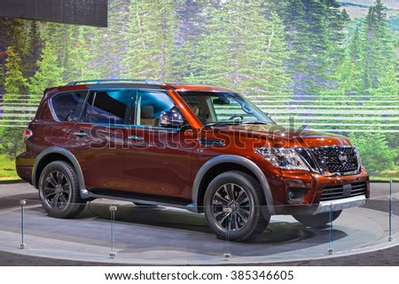 CHICAGO - February 11: The 2016 Nissan Pathfinder  on display at the Chicago Auto Show media preview February 11, 2016 in Chicago, Illinois. - stock photo