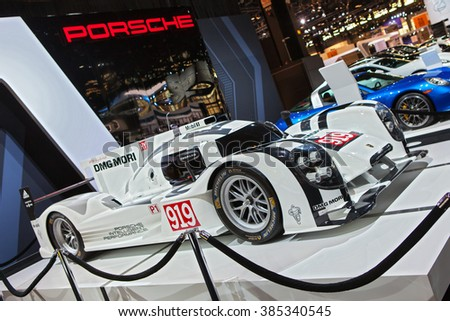 CHICAGO - February 11: The Porsche 919 Hybrid race car on display at the Chicago Auto Show media preview February 11, 2016 in Chicago, Illinois. - stock photo