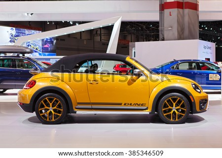 CHICAGO - February 11: The 2017 Volkswagen Dune Cabrio on display at the North American International Auto Show media preview February 11, 2016 in Chicago, Illinois. - stock photo
