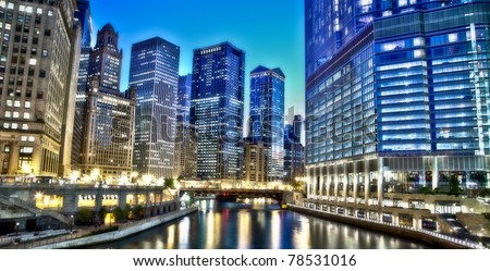 Chicago Financial District - stock photo