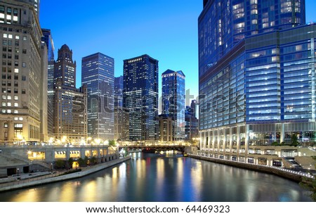 Chicago financial district along the river - stock photo