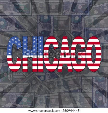 Chicago flag text on dollars sunburst illustration - stock photo