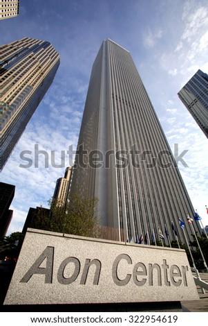 CHICAGO - FRIDAY, SEPTEMBER 25, 2015: The Aon Center. Aon is the leading provider of risk services, reinsurance brokering & human resource consulting. - stock photo