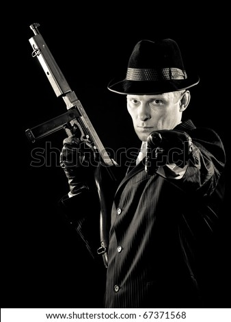 chicago  gangster. armed and special dangerous - stock photo