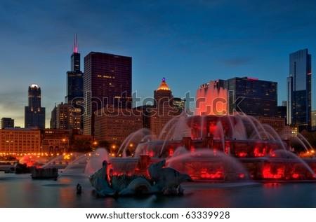 Chicago Grant Park, Buckingham Fountain - stock photo