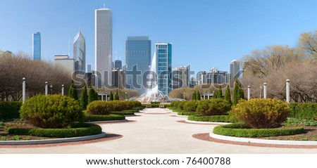 Chicago Grant Park with Buckingham fountain in the middle. - stock photo