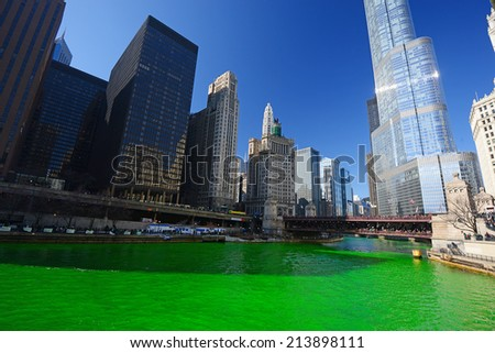 chicago green river during Saint Patrick day - stock photo