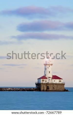 Chicago harbor lighthouse - stock photo