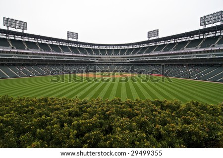 CHICAGO, IL - APRIL 29: Wide angle view of U.S. Cellular Field prior to the Chicago White vs. Seattle Mariners game April 29, 2009 in Chicago, IL. - stock photo
