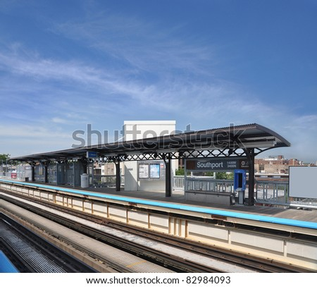 """CHICAGO, IL - AUG 9: Chicago """"L"""" Brown line transit system runs 11.4 miles above ground. The 3rd busiest line, 19 stations and an avg. weekday ridership of 98,307 as of Oct '09, Chicago Aug 9, 2010. - stock photo"""