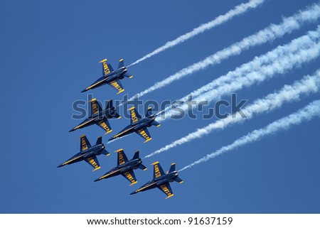CHICAGO, IL - AUGUST 14: Blue Angels formation demonstrates flying skills and aerobatics at the annual Chicago Air and Water show on August 14, 2010 in Chicago, IL