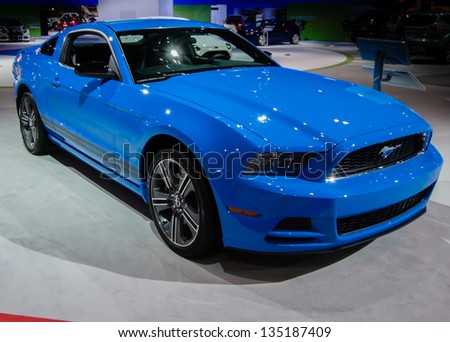 CHICAGO, IL, - FEBRUARY 8: A 2013 blue Ford Mustang on display at the Chicago Auto Show, on February 8, 2013, in Chicago, Illinois.