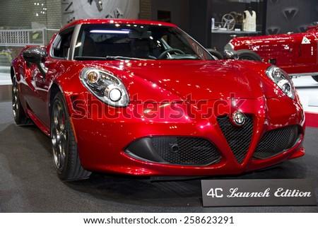 CHICAGO, IL - FEBRUARY 15: Alfa Romeo 4C at the annual International auto-show, February 15, 2015 in Chicago, IL - stock photo