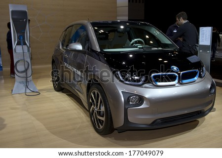 CHICAGO, IL - FEBRUARY 8: BMW i3 at the annual International auto-show, February 8, 2014 in Chicago, IL - stock photo