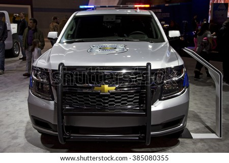 CHICAGO, IL - FEBRUARY 15: Chevrolet police vehicle at the annual International auto-show, February 15, 2016 in Chicago, IL