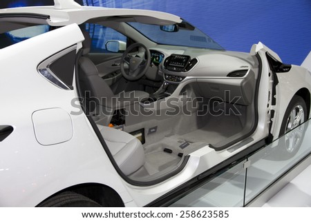 CHICAGO, IL - FEBRUARY 15: 2016 CHEVROLET VOLT at the annual International auto-show, February 15, 2015 in Chicago, IL - stock photo