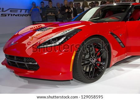 CHICAGO, IL - FEBRUARY 16: Chevy Corvette 2014 at the annual International auto-show, February 16, 2013 in Chicago, IL - stock photo