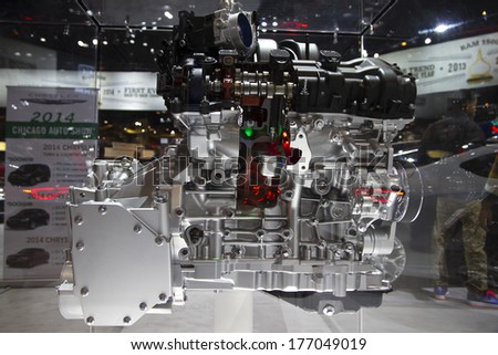 CHICAGO, IL - FEBRUARY 8: Chrysler Pentastar V6 Engine at the annual International auto-show, February 8, 2014 in Chicago, IL