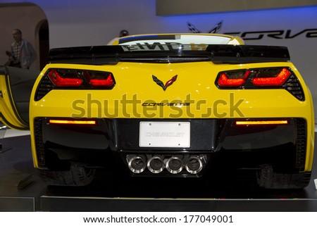 CHICAGO, IL - FEBRUARY 8: Corvette Stingray at the annual International auto-show, February 8, 2014 in Chicago, IL - stock photo