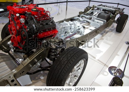 CHICAGO, IL - FEBRUARY 15: Dodge engine, transmission and chassis  at the annual International auto-show, February 15, 2015 in Chicago, IL - stock photo