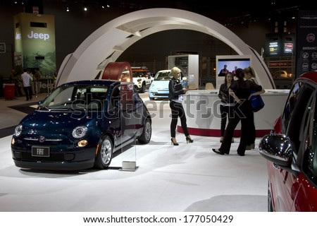 CHICAGO, IL - FEBRUARY 8: Fiat 500 at the annual International auto-show, February 8, 2014 in Chicago, IL - stock photo