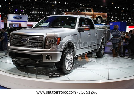 CHICAGO, IL - FEBRUARY 20: Ford F150 truck at the International auto-show on February 20, 2011 in Chicago, IL - stock photo