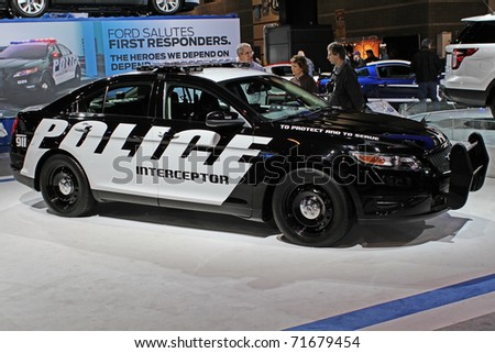 CHICAGO, IL - FEBRUARY 20: Ford Police Interceptor 2011 model at the International auto-show on February 20, 2011 in Chicago, IL - stock photo