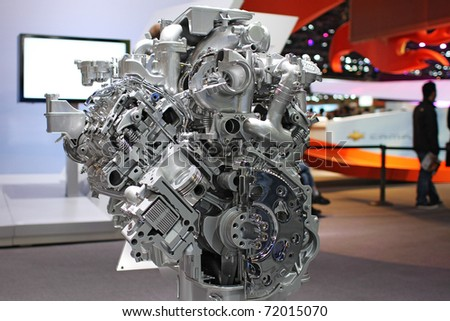 CHICAGO, IL - FEBRUARY 20: Ford's engine demo model at the International auto-show on February 20, 2011 in Chicago, IL