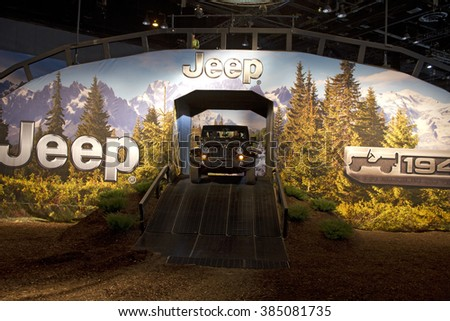 CHICAGO, IL - FEBRUARY 15: Jeep Grand Cherokee 2016 at the annual International auto-show, February 15, 2016 in Chicago, IL